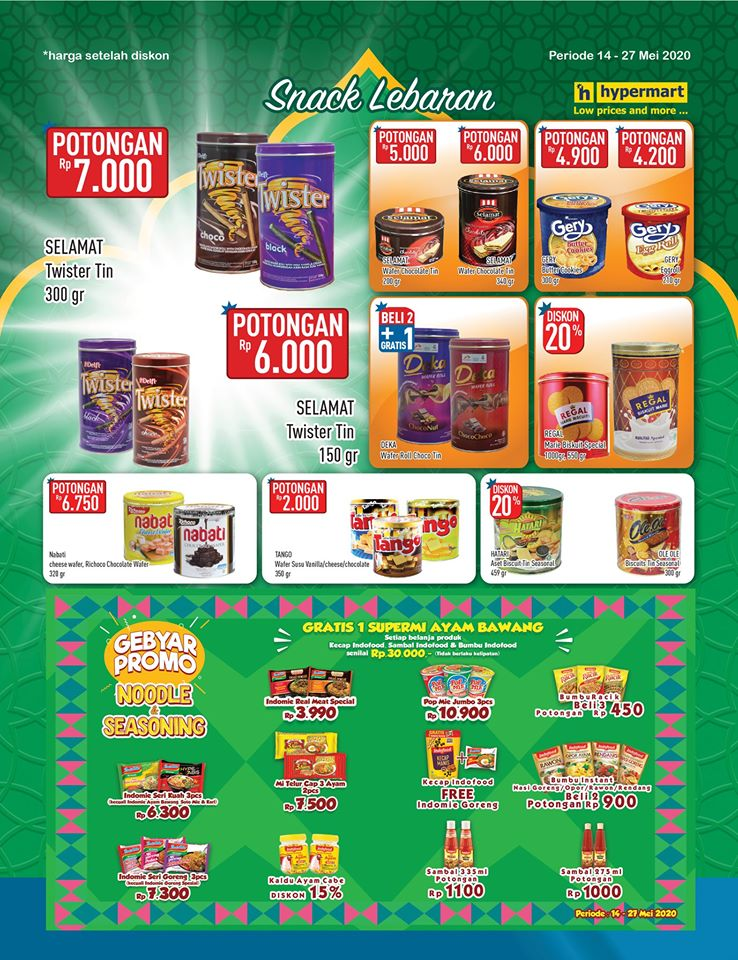 Promo Hypermart Kategori Snack Lebaran Periode 14 - 27 Mei 2020
