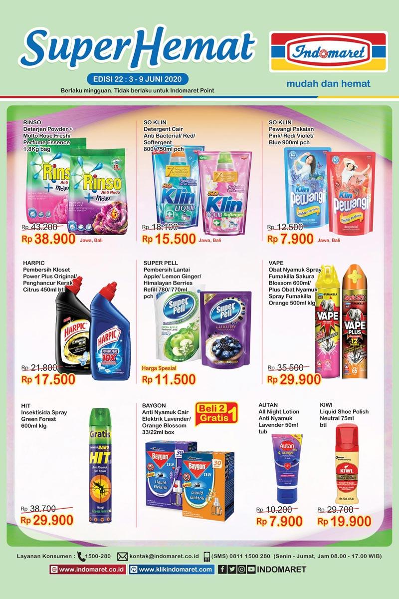 Katalog Promo Super Hemat Indomaret Kategori Bersih Bersih Rumah 3-9 Juni 2020